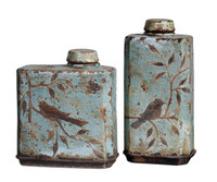 Freya, Decorative Containers, Blue Ceramic, Set Of 2