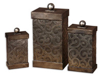 Nera, Decorative Boxes, Hand-Embossed Metal, Set Of 3
