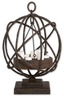 Sammy, Unique Spherical Iron Metal And Wood Candle Holder