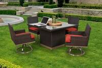 mirabella 5 pc outdoor patio dining set (39 cushion colors)
