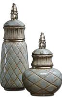 Deniz Ceramic Decorative Containers, Set Of 2