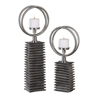 Eugenio Black Ceramic Candleholders, Set of 2
