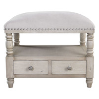 Bailor White Canvas Bench