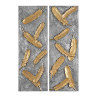 Falling Feathers Gold Wall Art Set/2