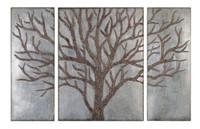 Winter View Rustic Tree Mirror Set/3