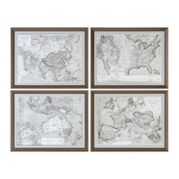 World Maps Framed Prints S/4