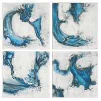 Swirls In Blue Abstract Art, S/4