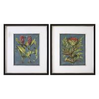 Rhubarb And Artichoke Floral Prints S/2