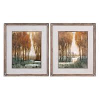 Custom Golden Forest Landscape Prints S/2