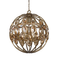 Ambre 8 Light Gold Sphere Chandelier