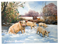 'Pigs in the Snow' Hillside Fine Art Christmas Cards