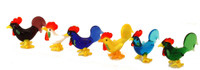 Set of 6 Glass Mini Cockerel Ornaments