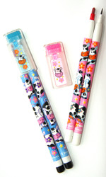 Cow Pencil and Multi Colour Pop up Pen Set