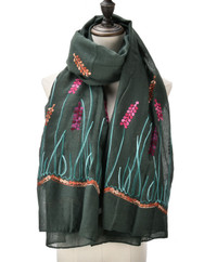 Green Embroidered Scarf in Floral Design