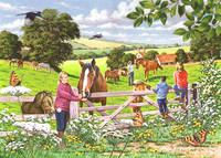 'Visiting the Ponies' Hillside 500 Piece Jigsaw Puzzle