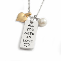 'All You Need Is Love' Sentiment Pendant