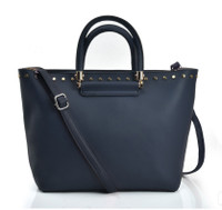 Large Dual-Use Handbag with Metal Stud Decoration