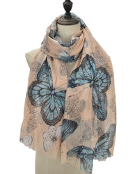 Voile Modern Print Scarf with Sequins