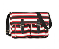 Stripe Crossbody Bag with Buckle Detail