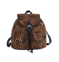 Leopard Print Backpack with Buckle Detail