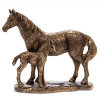 Bronzed Mare and Foal Ornament
