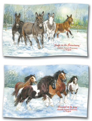Hillside Horse and Donkey Tea Towels