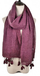 Plain Colour Tassel Scarf