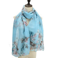 Supersoft Blue Butterfly Design Scarf (S3)