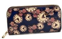 Floral Timepiece Zip-a-Round Purse