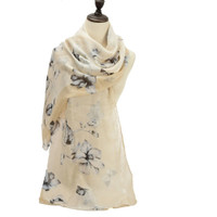 Half-Edged Flower Pattern Ladies Scarf