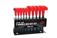T-Handle Hex Key Set, SAE, 10pc ATD-574