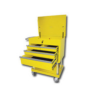 Mountain Professional 4 Drawer Yellow Service Cart with Mag Wheels