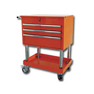 Mountain Professional 4 Drawer Orange Service Cart with Mag Wheels