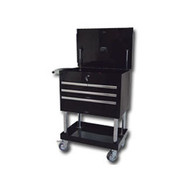 Mountain Professional 4 Drawer Black Service Cart with Mag Wheels