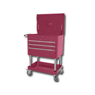Mountain Professional 4 Drawer Cranberry Service Cart with Mag Wheels