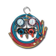 R134a Aluminum Block Manifold Gauge Set with Hoses and Quick Couplers
