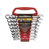 8 Pc. SAE Flex Head Combination Gear Wrench Set