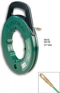 """50' x .175"""" (15.2 m x 4.4 mm) Fiberglass Fish Tape in Winder Case"""