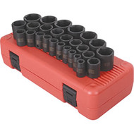 "26 Piece 1/2"" Dr. Metric Impact Socket Set SUN2645"