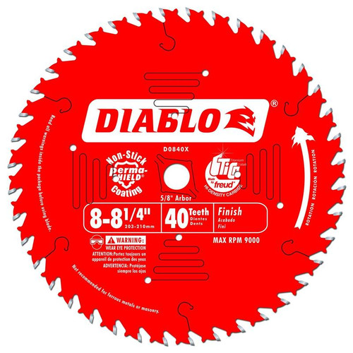 Freud Diablo 8-1/4-Inch 40 Tooth ATB Finishing Saw Blade D0840X