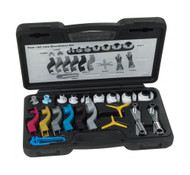"""The new OTC 6554 Fuel and AC Line Disconnect Kit provides technicians with a great selection of disconnect tools - intended for top-side vehicle service. We've included ONLY the disconnect tools needed for vehicles on the road today and ONLY tools intended for Fuel and AC lines in the OTC 6554.   The OTC 6554 Fuel and AC Line Disconnect Kit has OE style, Spring Lock style, Scissors style, and Clip-on style disconnect tools covering a range of 3/8"""" diameter to 7/8""""diameter line sizes. We also include a pair of hi-vis multi-size line plugs to keep fluids from leaking onto the work area once disconnected. Stored in a handy blow mold case so you can take every option to the work area."""