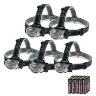 5 pack LED Headlamp Set with batteries