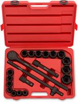 "3/4"" Drive Jumbo Impact Socket Set, 21 Piece Shallow Socket Assortment | Standard SAE Sizes (3/4-Inch to 2-Inch) | Cr- V Steel"