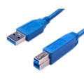 USB 3.0 High Speed Device Cable With A-Type Male to B-Type Male Connector, Blue Color