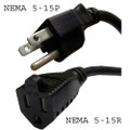 Computer 3-prong US-type Power Extension Cord, NEMA 5-15P to NEMA 5-15R connector, 10 Amp rated, UL.