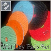"5"" Pro WET/DRY Diamond Polishing Pad Set Granite Marble"