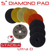 "Stadea 5"" Wet Diamond Polishing Pads For Granite Quartz Polishing, Series Ultra D"