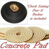 "4"" Diamond Polishing Pads CONCRETE Set +1 Rubber Backer"