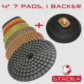 "Stadea 5"" Diamond Polishing Pads Kit with Backing Pad - Concrete Marble Terrazzo Wet Polishing, Series Standard A"