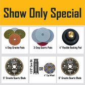 Stadea Stone Fabrication Tools Professional Kit - Granite Polishing Pads, Quartz Polishing Pads, Diamond Saw Blades, Resin Filled Cup Wheels, Backing Pads
